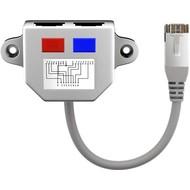 Kabel-Splitter (Netzwerkdoppler), CAT Y-Adapter<br>Beschaltung: 2x CAT 5 Ethernet, geschirmt
