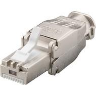 Werkzeugfreier RJ45 Stecker CAT 6A STP geschirmt<br>max. Kabeldurchmesser: 9 mm