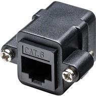 RJ45 Modularkupplung/Verbinder mit Montageflansch, CAT 6<br>2x RJ45-Buchse (8P8C)