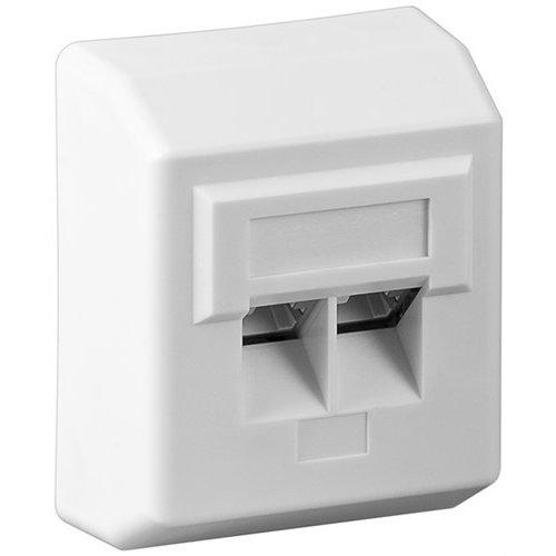 CAT 5e Aufputzdose (AP)<br>2x RJ45 Netzwerkdose, geschirmt, Weiß