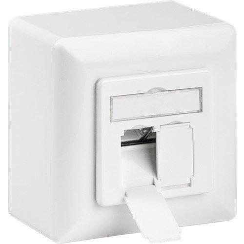 CAT 6a Universaldose inkl. Aufputzmontage-Rahmen<br>Weiß 2x RJ45 Netzwerkdose, geschirmt