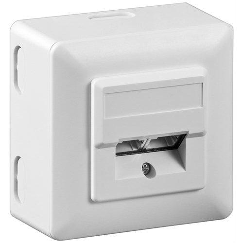 CAT 5e Universaldose inkl. Aufputzmontage-Rahmen<br>2x RJ45 Netzwerkdose, geschirmt, Weiß