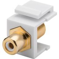 Keystone Modul Cinch/RCA<br>16,2 mm Breite, Cinch-Buchse Weiß > F-Buchse, vergoldet