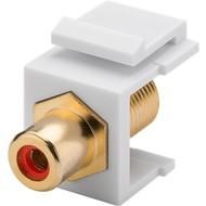 Keystone Modul Cinch/RCA<br>14,7 mm Breite, Cinch-Buchse Rot > F-Buchse, vergoldet