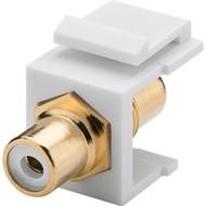 Keystone Modul Cinch/RCA<br>2x Cinch-Buchse, Weiß, vergoldet