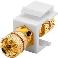 Keystone Modul Lautsprecher<br>16,2 mm Breite, Polklemme > Gewindebuchse, rot