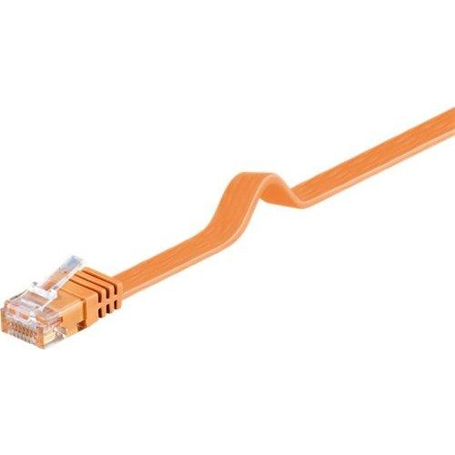 CAT 6 Flach-Patchkabel, U/UTP, Orange<br>Kupfermaterial 1M