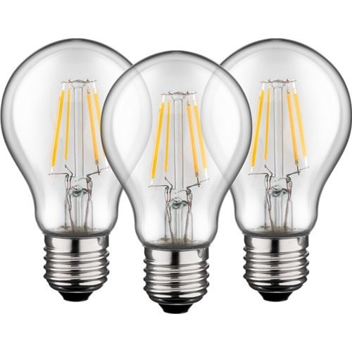 3x Filament-LED Birne, 6 W<br>Sockel E27, ersetzt 60 W, warm-weiß, nicht dimmbar
