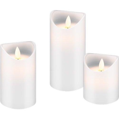3er Set LED Echtwachs-Kerzen, weiß<br>Wunderschöne und sichere Lichtlösung für viele Bereiche wie Haus und Loggia, Büros, Schulen oder Seniorenheime