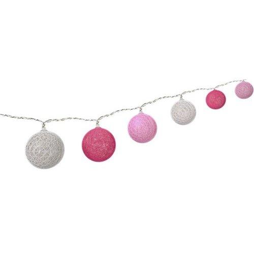 10er LED Lichterkette Cotton Balls, batteriebetrieben<br>Trendige Leuchtdekoration für den Innenbereich