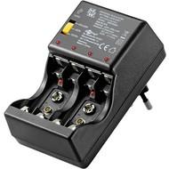 Steckerladegerät<br>geeignet für bis zu 4x Micro (AAA) oder Mignon (AA) und 2x 9 V Block