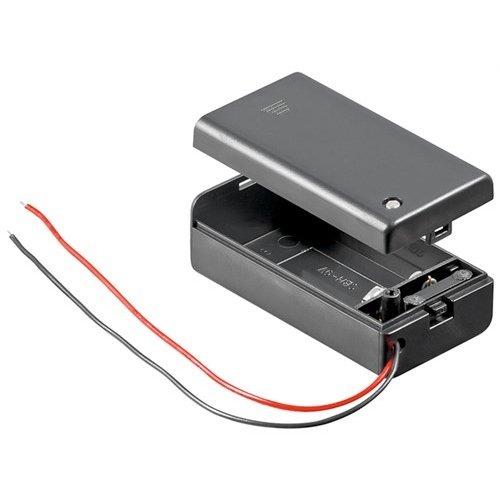 1x 9V Block Batteriehalter<br>lose Kabelenden, wasserabweisend