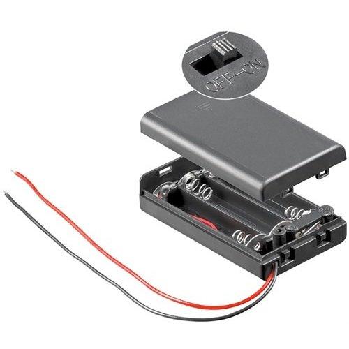 3x AAA (Micro) Batteriehalter<br>lose Kabelenden, wasserabweisend, schaltbar