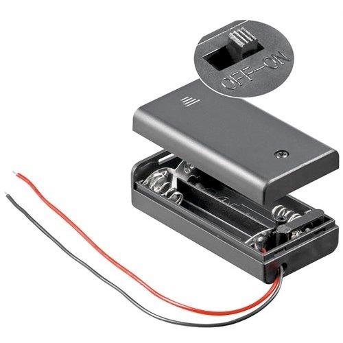 2x AA (Mignon) Batteriehalter<br>lose Kabelenden, wasserabweisend, schaltbar