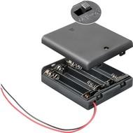 4x AA (Mignon) Batteriehalter<br>lose Kabelenden, wasserabweisend, schaltbar