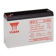 Yuasa Bleiakku 6 V, 10,0 Ah (NP10-6)<br>Faston (4,8 mm) Bleiakku, VdS