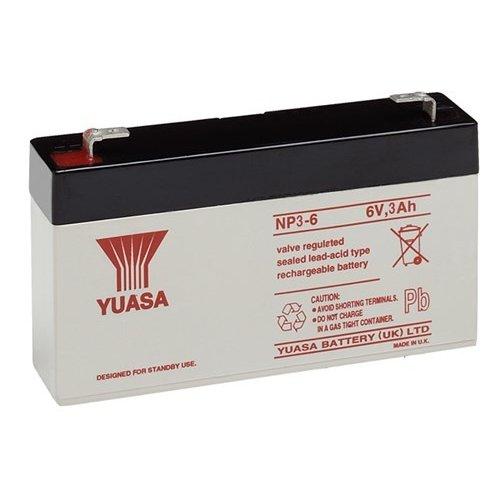Yuasa Bleiakku 6 V, 3,0 Ah (NP3-6)<br>Faston (4,8 mm) Bleiakku