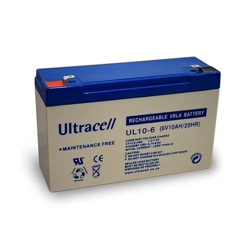 Ultracell Bleiakku 6 V, 10 Ah (UL10-6)<br>Faston (4,8 mm) Bleiakku