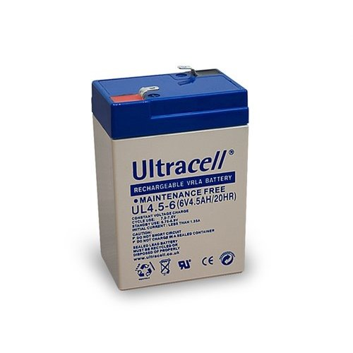 Ultracell Bleiakku 6 V, 4,5 Ah (UL4.5-6)<br>Faston (4,8 mm) Bleiakku