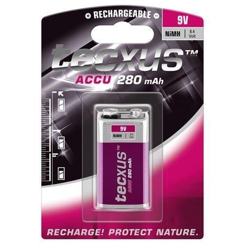 Tecxus 9V Block/6HR61 - 280 mAh<br>Nickel-Metallhydrid Akku (NiMH), 9 V