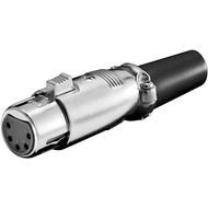 Mikrofonkupplung, 5 Pin<br>mit vergoldeten Kontakten, Verriegelung und geschraubter Zugentlastung