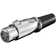 Mikrofonkupplung, 4 Pin<br>mit vergoldeten Kontakten, Verriegelung und geschraubter Zugentlastung