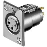 Mikrofon-Einbaubuchse, 3 Pin<br>mit Verriegelung und vergoldeten Kontakten
