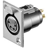 Mikrofon-Einbaubuchse, 4 Pin<br>mit Verriegelung und vergoldeten Kontakten