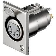 Mikrofon-Einbaubuchse, 5 Pin<br>mit Verriegelung und vergoldeten Kontakten