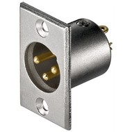 Mikrofon-Einbaustecker, 3 Pin<br>mit vergoldeten Kontakten
