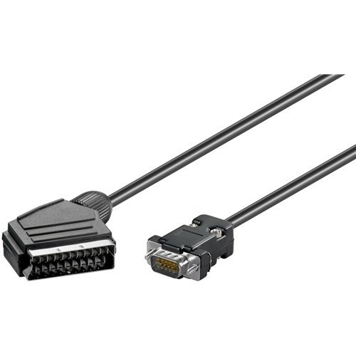 Adapterkabel, Scart zu VGA<br>Scartstecker (21-Pin) > D-SUB-Stecker (15-polig) 2M