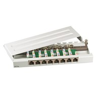 Mini-Patchpanel 8xRJ45 Cat.6A 0,5HE RAL7035 grau