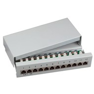 Mini-Patchp. 12xRJ45S Cat.5e RAL7035
