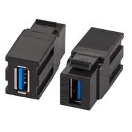 USB3.0 Snap-In Adapter schwarz Buchse Serie A/Buchse Serie A