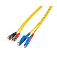Duplex Jumper E2000®-ST 9/125µ, 0.5 m, OS2, LSZH, gelb