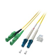 Duplex Jumper E2000®/APC8°-LC 9/125µ, 0,5 m, OS2, LSZH, gelb Ø 2,8mm