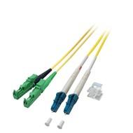 Duplex Jumper E2000®/APC8°-LC 9/125µ, 3m, OS2, LSZH, gelb, Ø 2,8mm