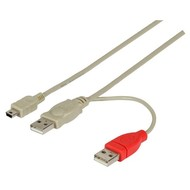 USB2.0 Y-Kabel, 1m 1xUSB B MINI St/2x USB A St