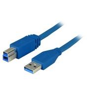 USB3.0 Anschlusskabel A-B St-St 3,0m blau, Premium