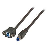 USB3.0 Verlängerungskabel B-B St.-Einbaubuchse 0,5m schwarz