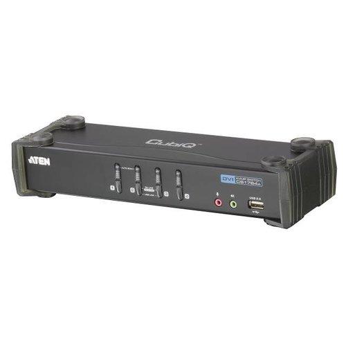 4-Port KVM USB DVI Audio USB 2.0 Hub inkl. Kabelset 4x1,8m