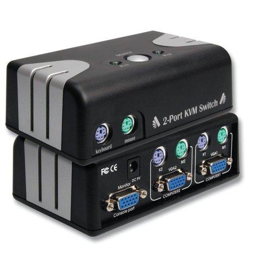 2-Port KVM Switch PS/2 inkl.2x KVM-Kabelsatz, 1,2m