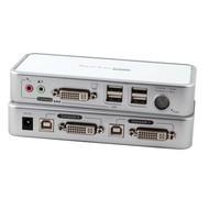 4-Port KVM Switch USB-DVI-D/A- Audio-USB2.0Hub incl. Kabelset