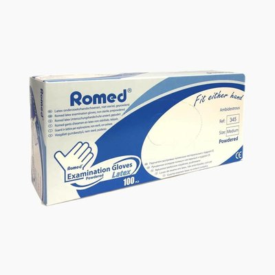 Romed Powdered latex examination glove Non-sterile