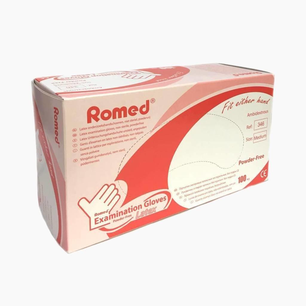 Romed Latex onderzoekshandschoen poedervrij Niet steriel