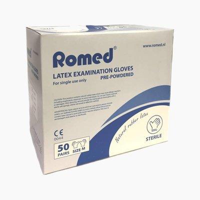 Romed Steriele latex onderzoekshandschoenen per paar verpakt