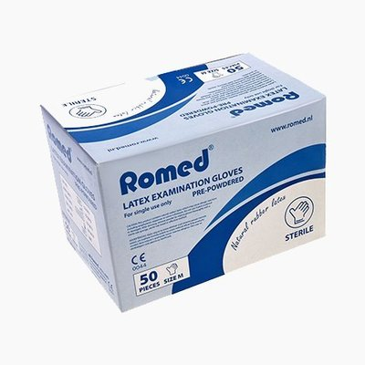 Romed Sterile latex examination gloves individually packed