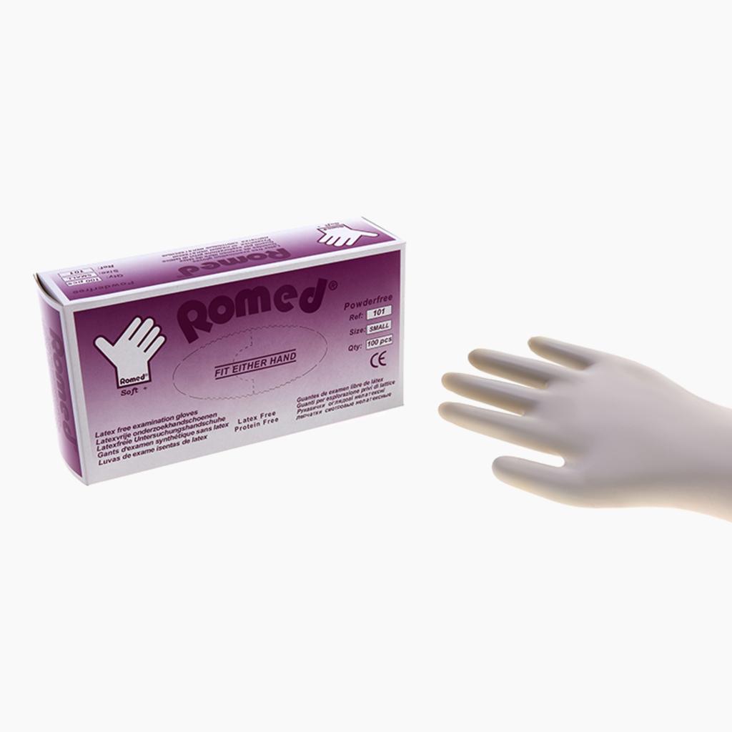 Romed Soft + latex-free examination gloves n.st. p. free