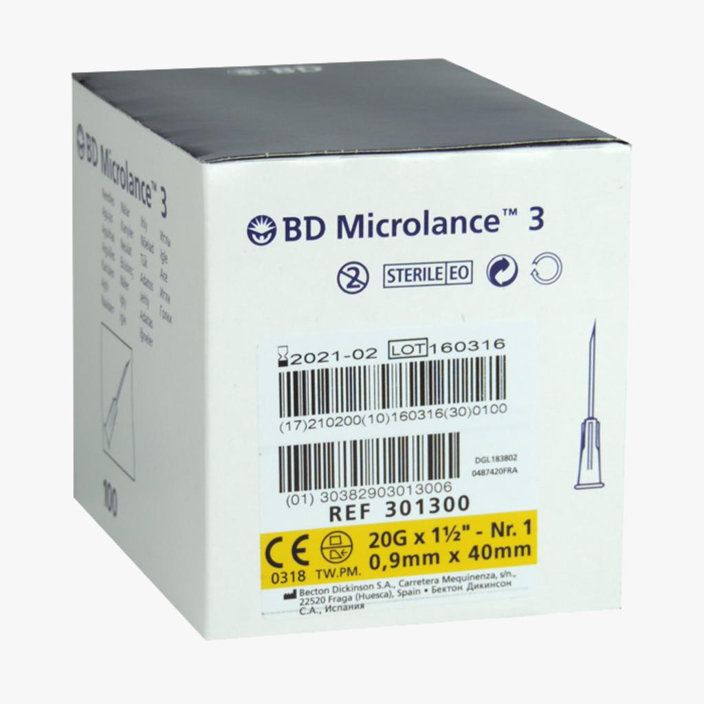 "BD Microlance 20G x 1 1/2"" - 0,9 x 40mm Geel injectienaalden"