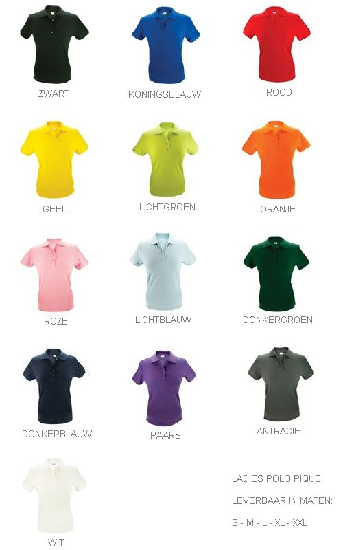 100% katoenen dames Poloshirts (polo pique) in de kleur donkergrijs